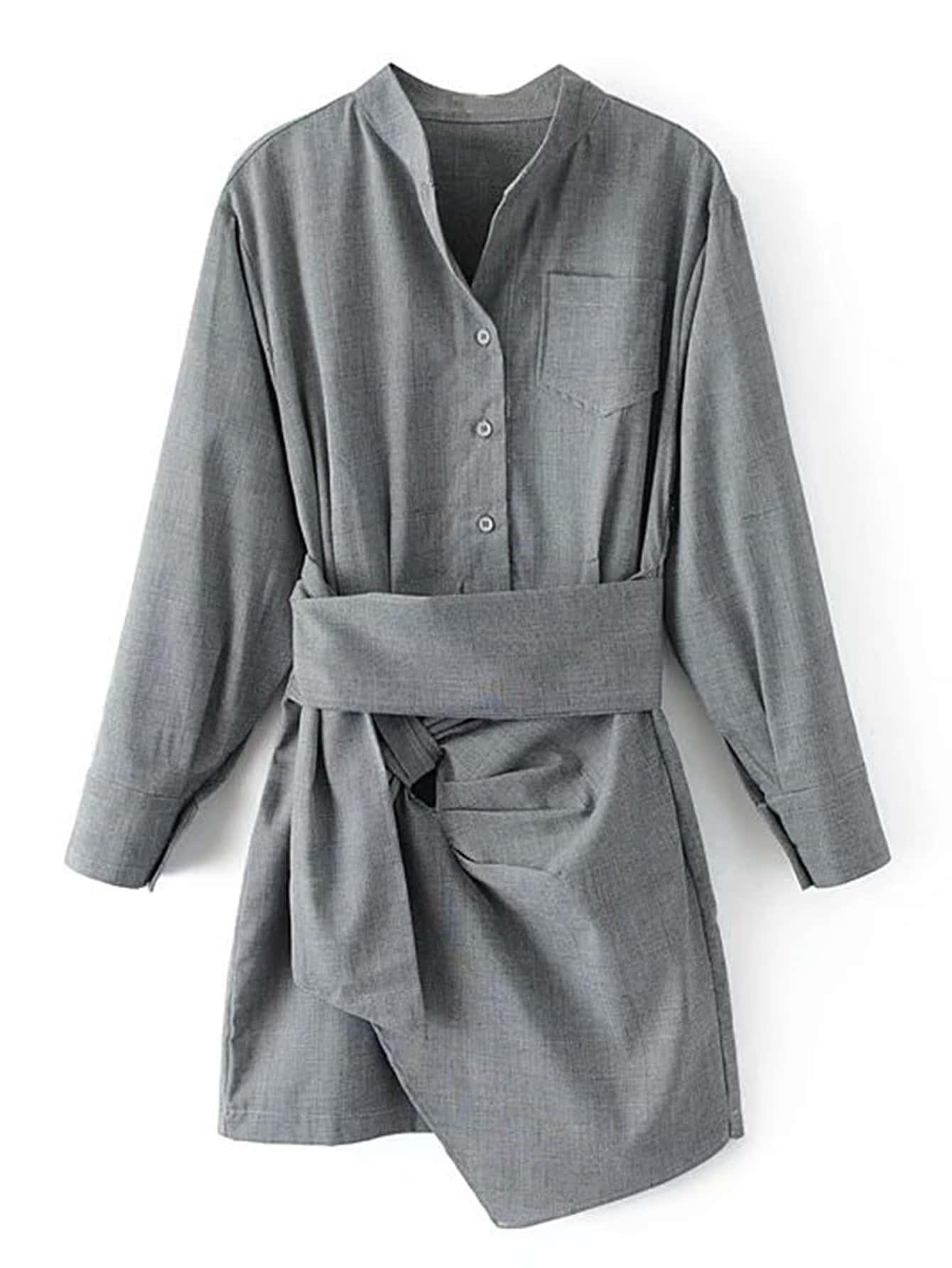 Self Tie Asymmetrical Plaid Shirt Dress все цены