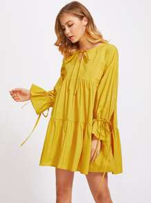 Bow Tied Neck And Ruff Cuff Tiered Swing Dress
