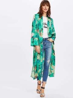 Botanical Print Side Slit Kimono Coat