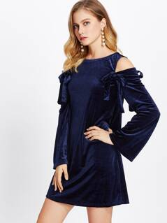 Bow Tie Open Shoulder Fluted Sleeve Velvet Dress