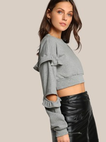 Elbow Slit Ruffle Accent Crop Top GREY