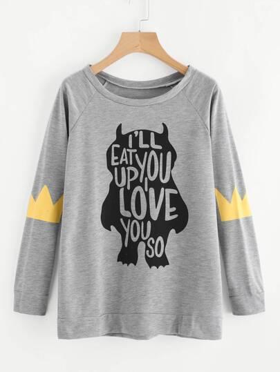 Slogan Print Marled Sweatshirt