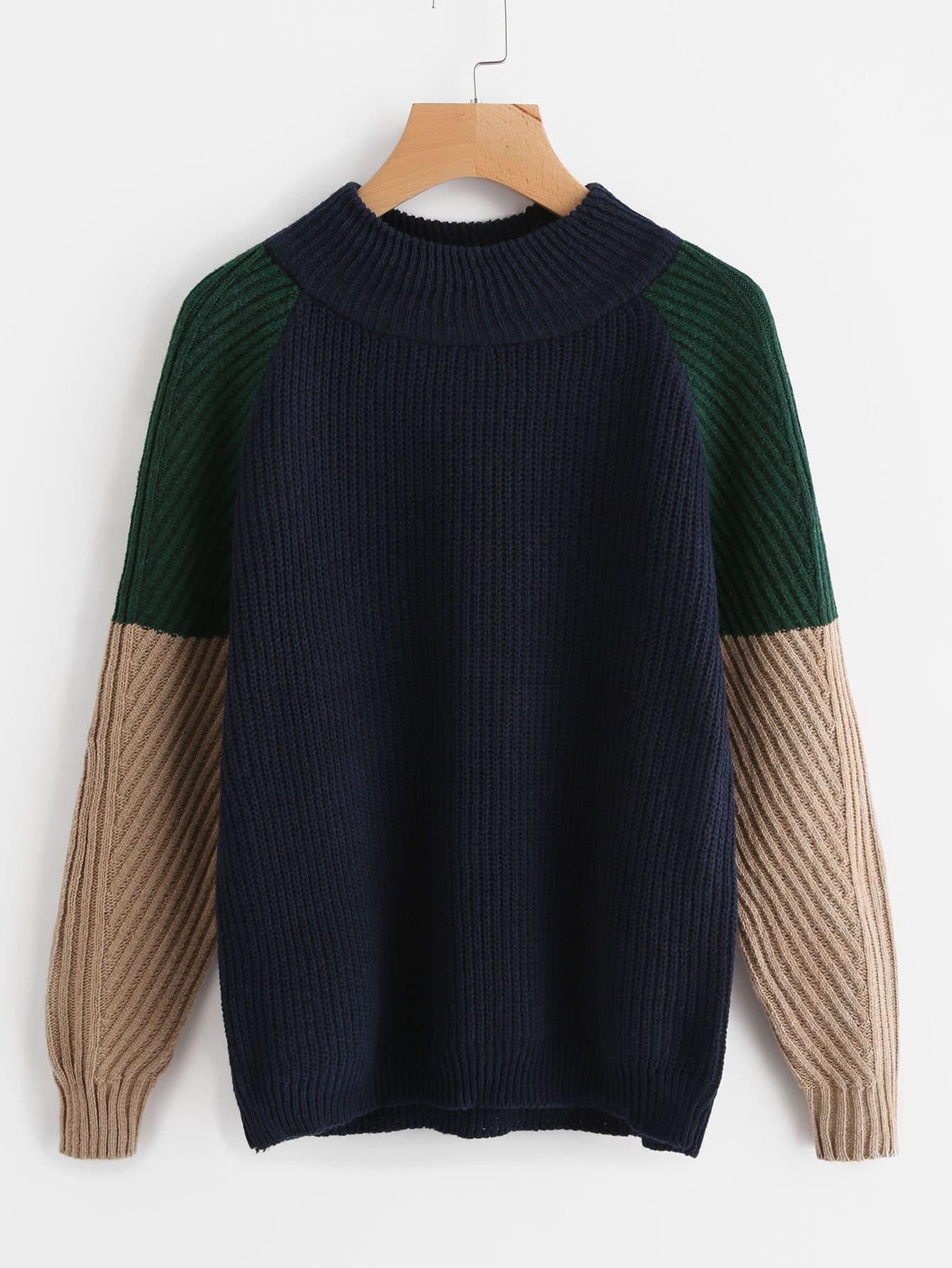 Contrast Raglan Sleeve Sweater sweater170906110