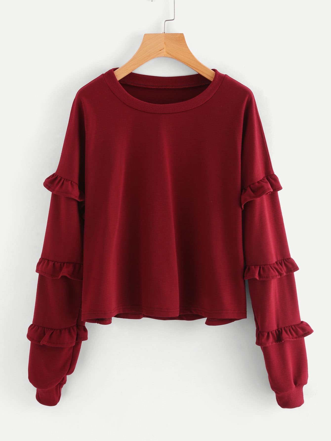 Tiered Frill Trim Drop Shoulder Sweatshirt drop shoulder frill hem batwing sweatshirt