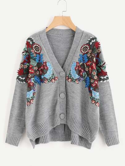 Embroidered Patch Slit Side Cardigan