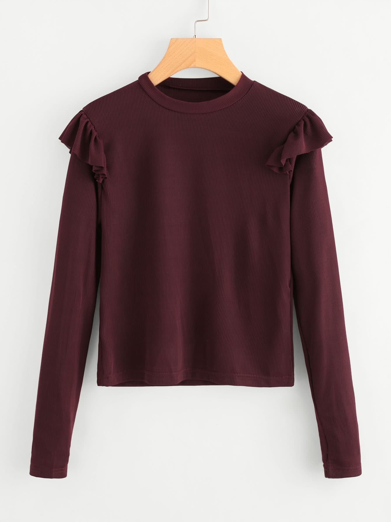 Frill Trim Ribbed Sweater