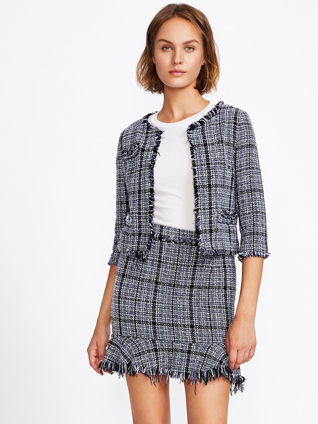 Frayed Tweed Blazer & Skirt Set frayed trim houndstooth tweed dress