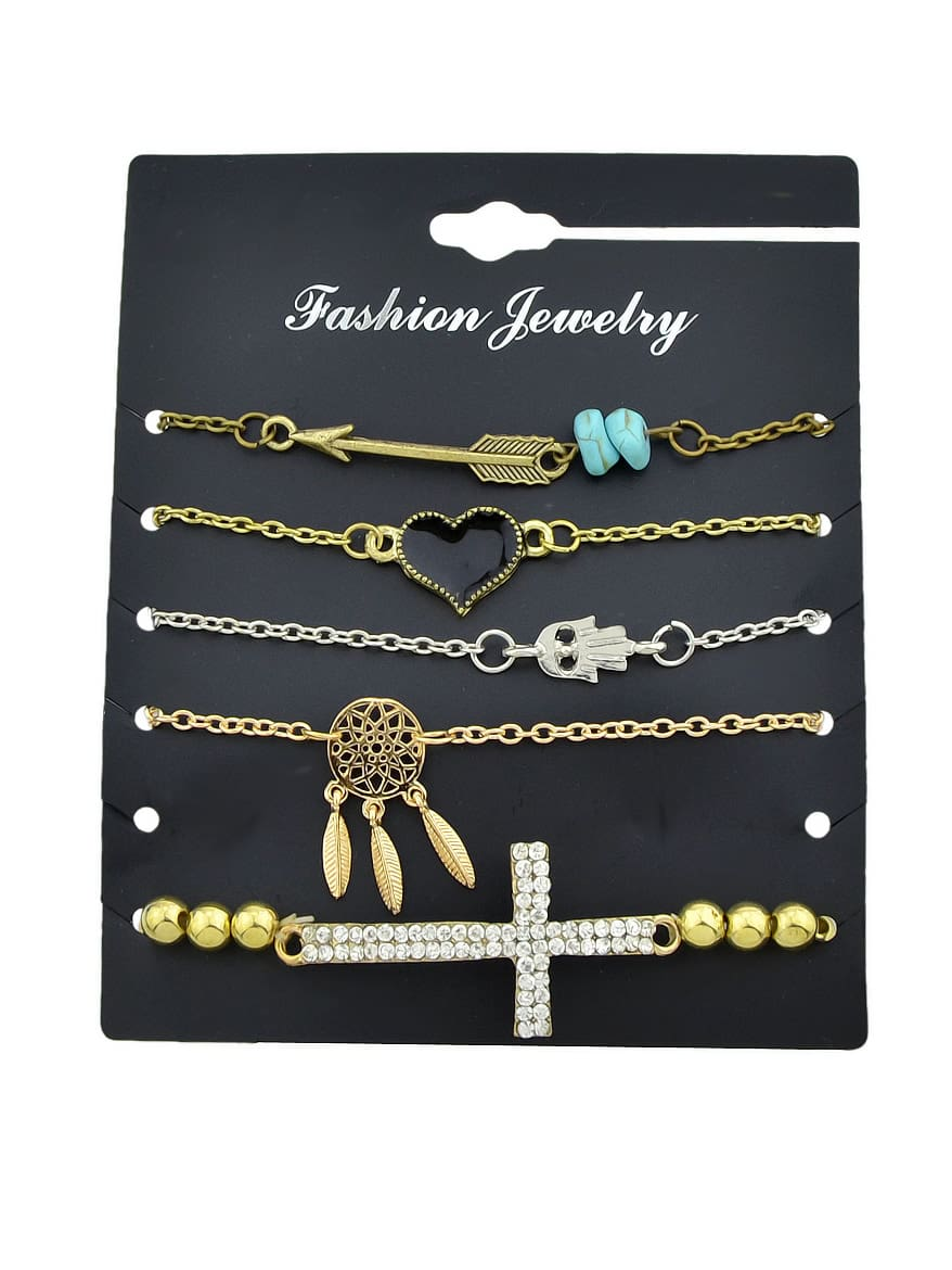 5Pcs/Set Gold And Silver Retro Pendant Bracelet