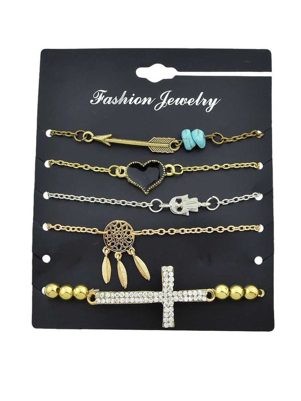 5Pcs/Set Gold And Silver Retro Pendant Bracelet