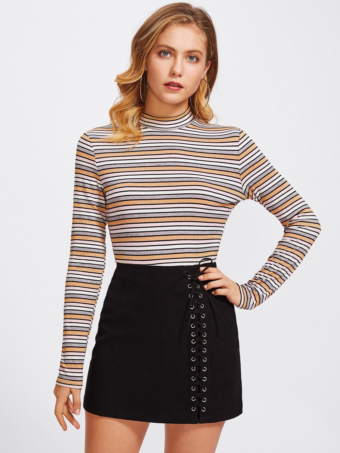 Mock Neck Rib Knit Striped Tee tee170922706