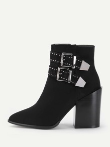 Double Buckle Block Heeled Ankle Boots