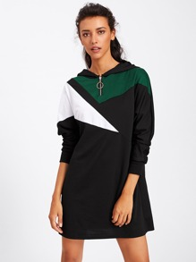 Contrast Panel Zip Detail Hoodie Dress