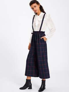 Grid Culotte Pants With Crisscross Strap