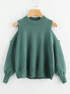 Open Shoulder Lantern Sleeve Sweater