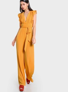 Flutter Sleeve Split Back Plunging Palazzo Jumpsuit