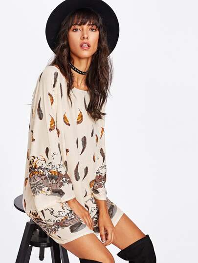 Feather Print Raglan Sleeve Dress