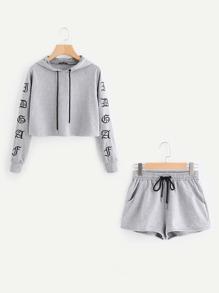Heather Knit Crop Hoodie & Shorts Set