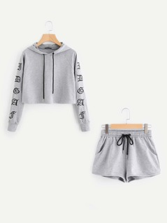 Heather Knit Crop Hoodie & Shorts Set