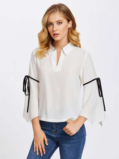 V Placket Bow Tie Fluted Sleeve Blouse