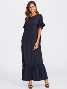 Bell Sleeve Tiered Hem Full Length Dress