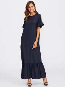 Bell Sleeve Tiered Hem Full Length Dress