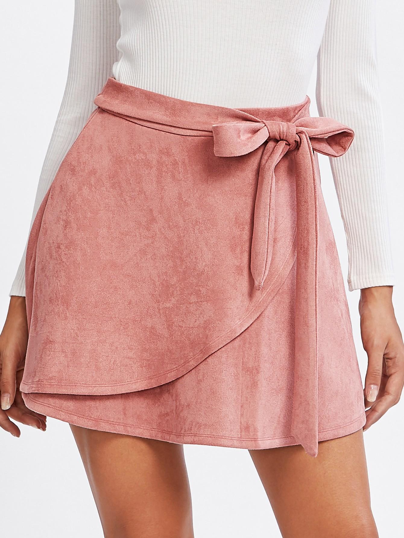 Купить Модная замшевая юбка с поясом, Giulia, SheIn