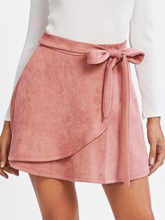 Self Belted Suede Staggered Skirt