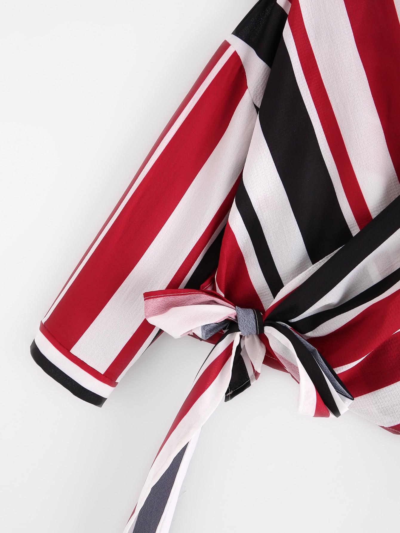 Wrap Self Tie Striped Top