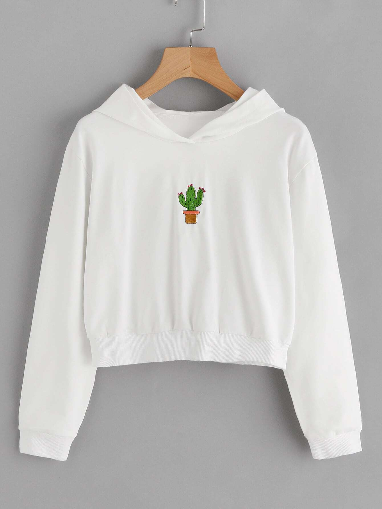Cactus Embroidered Patch Hoodie