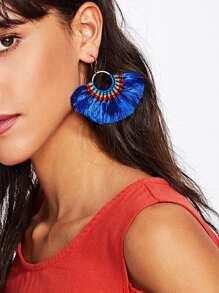Fan Shaped Woven Tassel Drop Earrings