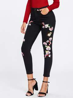 Symmetric Flower Embroidered Black Wash Jeans