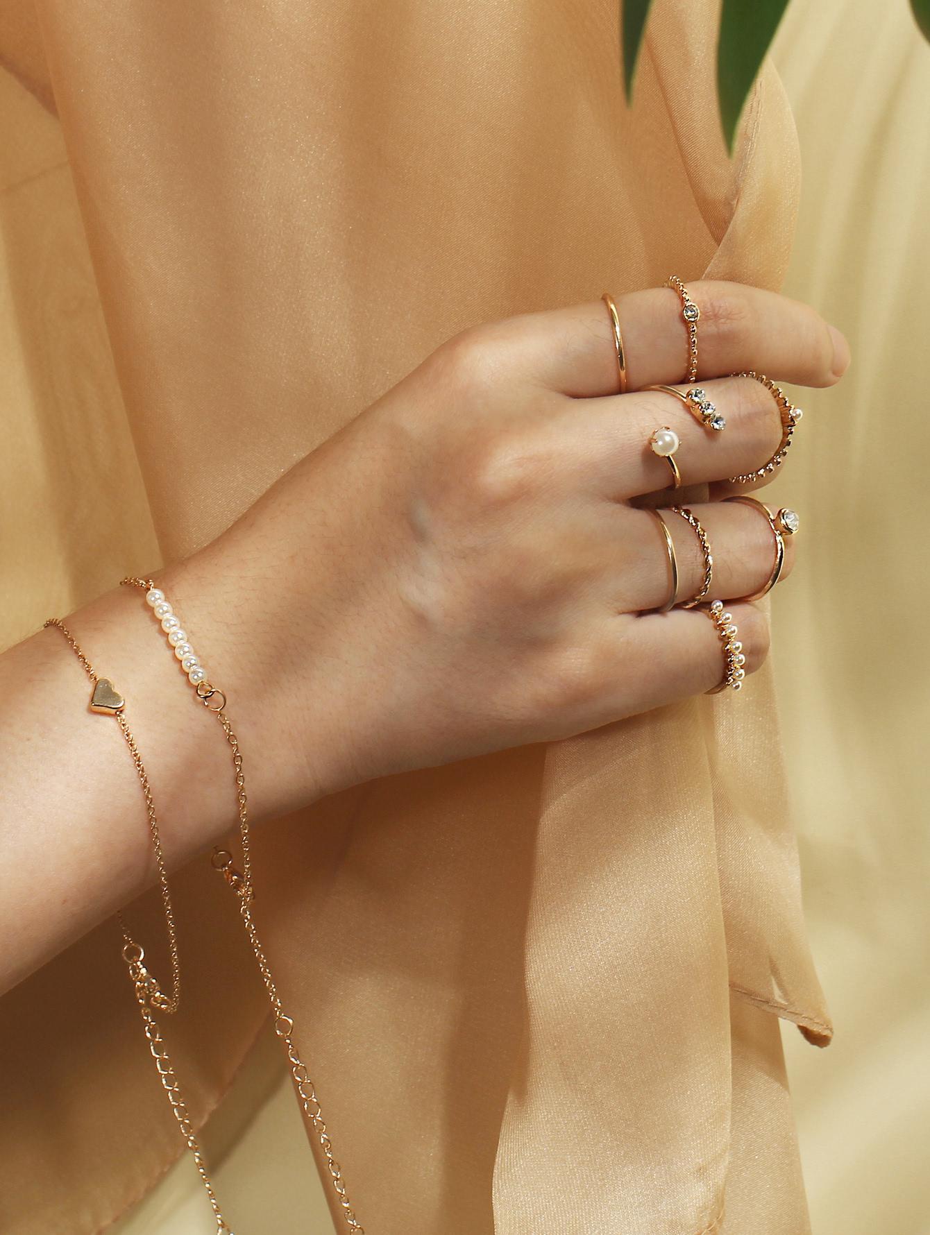 Faux Pearl Detail Rings & Link Bracelets Set