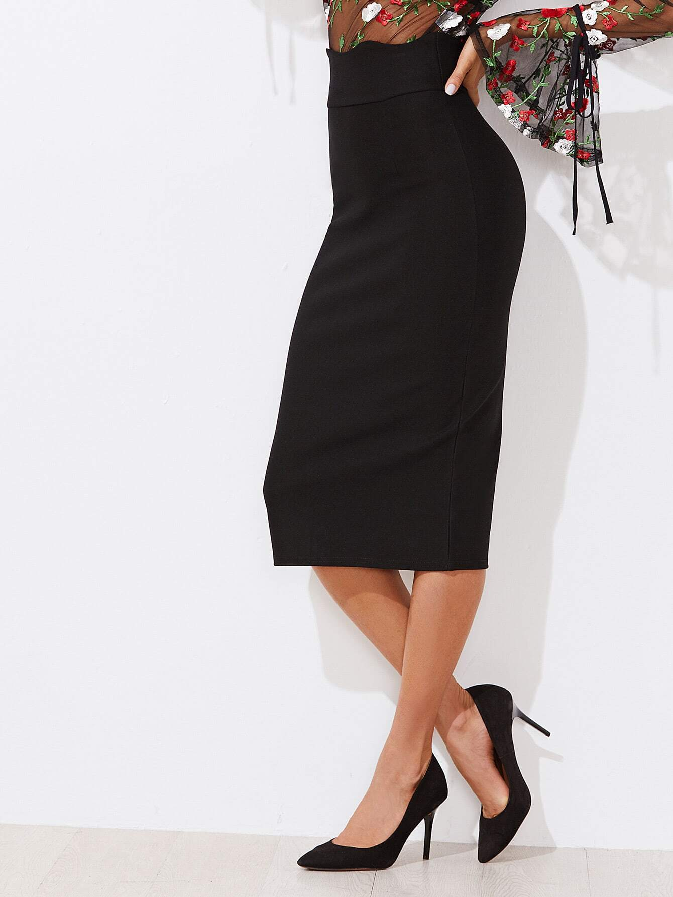 Scallop Trim High Waist Skirt