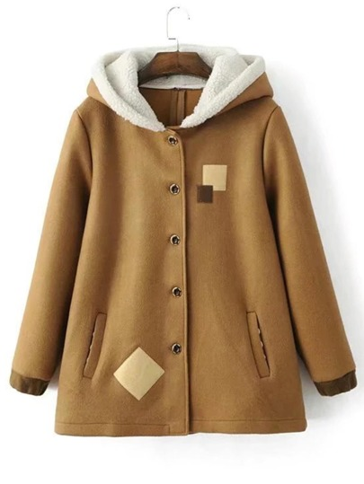 Bow Embellished Lambwool Hooded Coat
