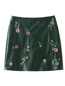 Embroidered Flower PU Bodycon Skirt