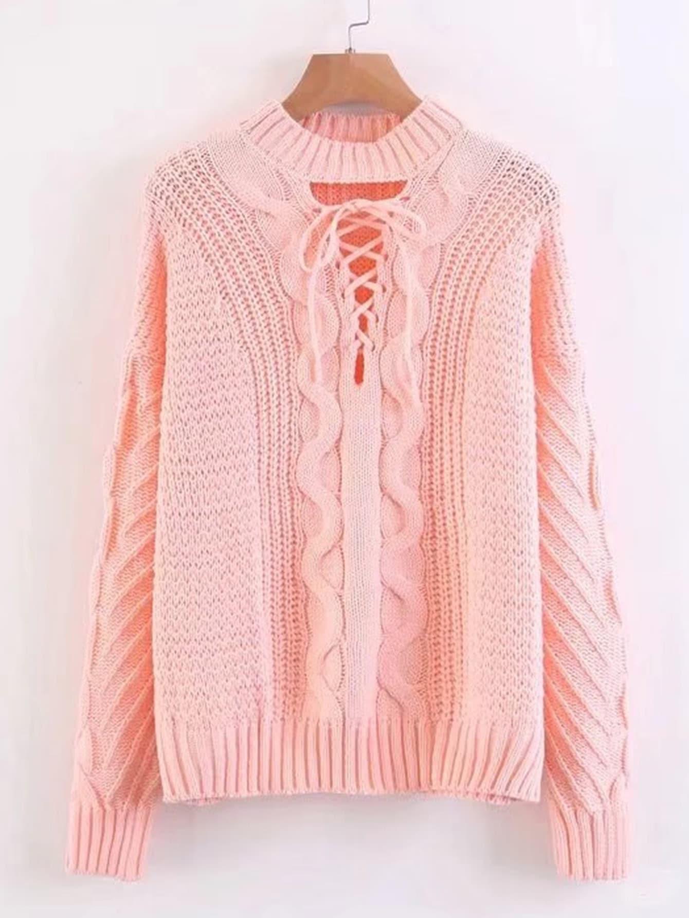 Lace Up V Neckline Jumper Sweater