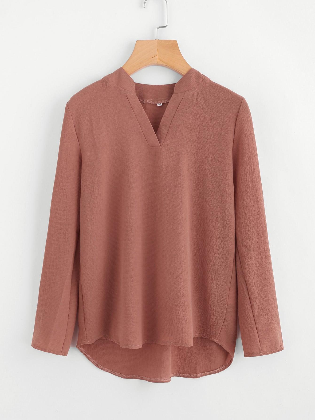 V Placket Fold Pleat Back Dip Hem Blouse zipper back dip hem peplum blouse