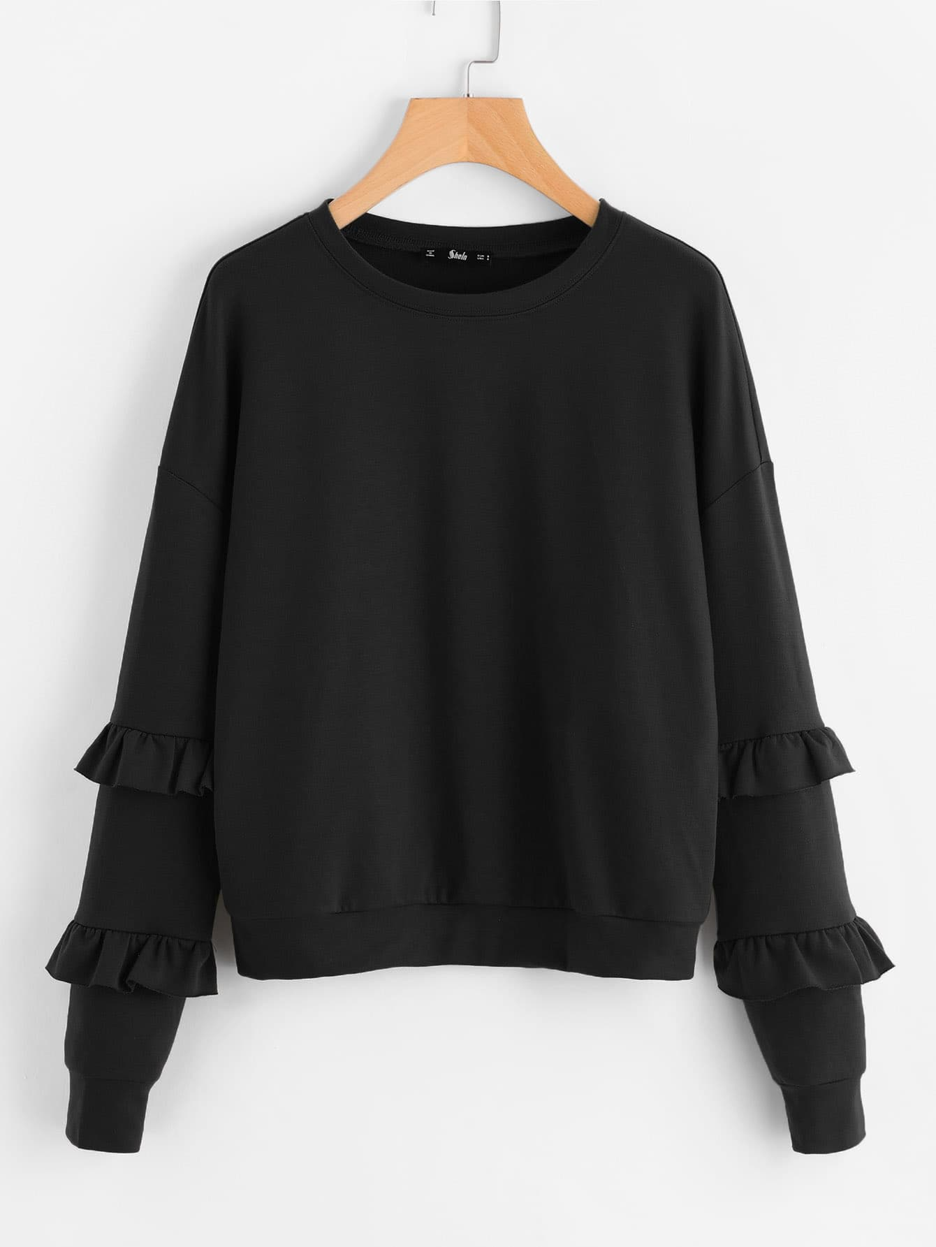 Drop Shoulder Ruffle Sleeve Sweatshirt drop shoulder frill hem batwing sweatshirt