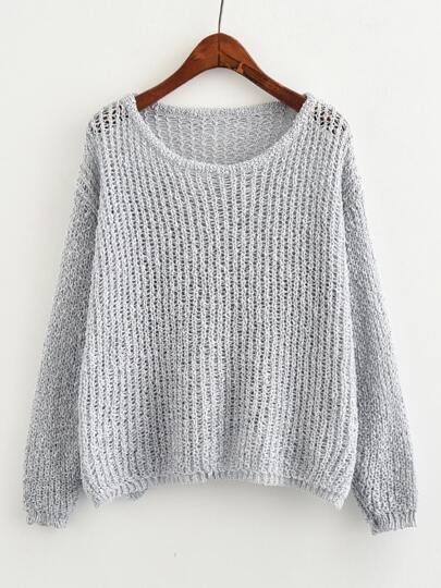 Open Knit Drop Shoulder Sweater