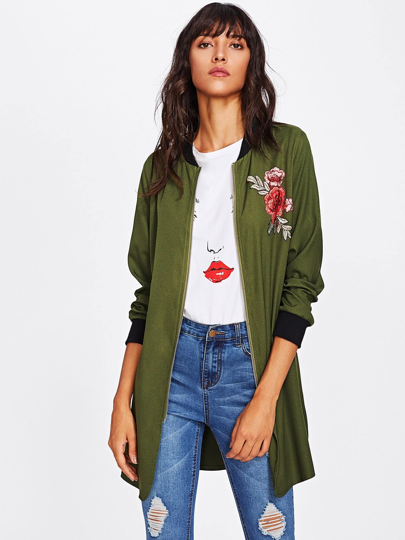 Embroidery Patch Slit Longline Bomber Jacket газовая варочная поверхность candy clg 64 spn