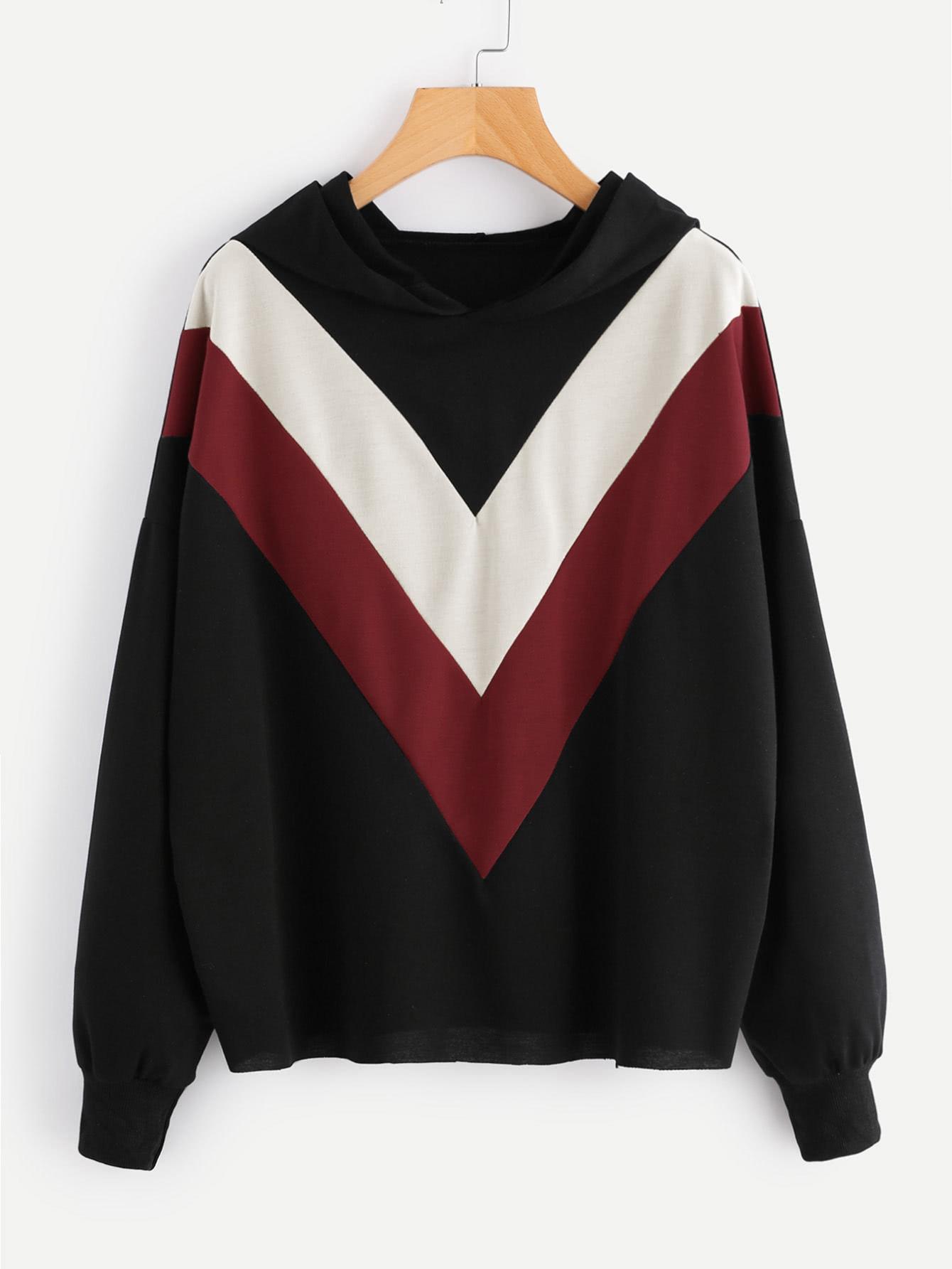 Hooded Color Block Sweatshirt