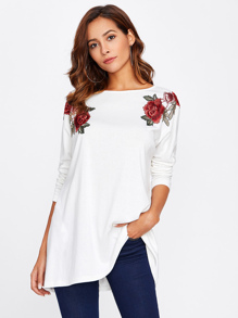 Symmetrical Embroidered Patch Boxy Tee