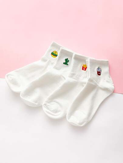 Cartoon Embroidery Design Ankle Socks 4pairs
