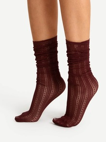 Cut Out Calf Length Socks