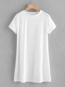Rolled Sleeve Basic Tee Dress