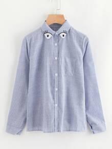 Vertical Striped Cartoon Embroidery Shirt