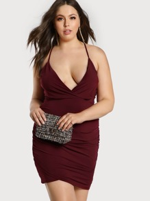 Cross Overlay Spaghetti Strap Bodycon Dress BURGUNDY