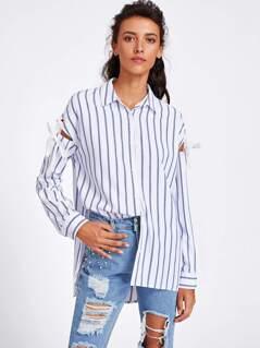 Grommet Tie Sleeve Side Slit Striped Shirt