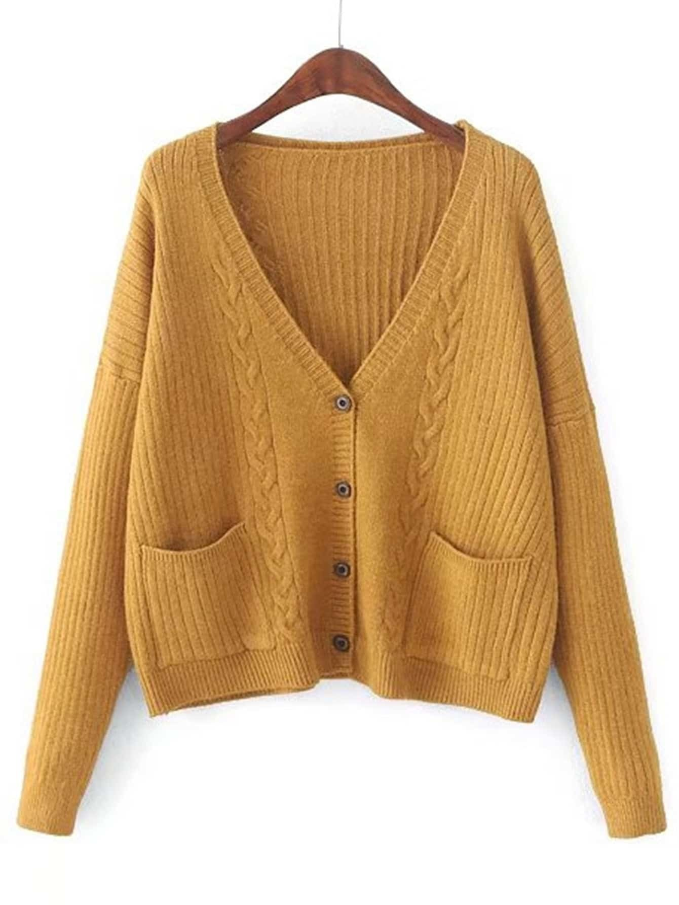Cable Knit Button Up Cardigan -SheIn(Sheinside)