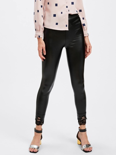 Scallop Lace Trim Slit Hem PU Leggings